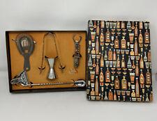 Vintage BAR Cocktail Tool Utensil Set In Original Box Retro Graphics!