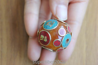 BD136 Nepal Handmade Brass Amber 30mm Ball Beads Charm Tibetan Mantra Loose Bead