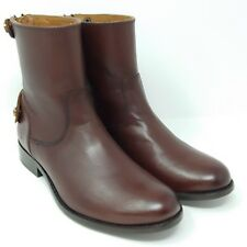 Frye Melissa Short Ankle Leather Boots Zipper Button Redwood Brown Womens Size 6