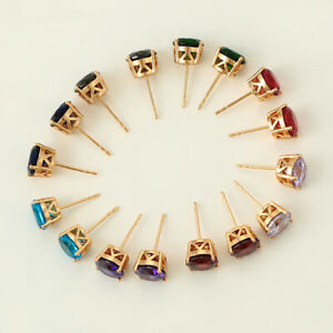 Elegant CZ Rhinestone Crystal Ear Stud Earrings Big, 18K Gold Colour