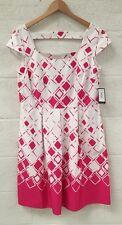 Nine West Rose Petal Pink & White Summer Wedding Party Dress UK 18