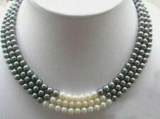"""beautiful 3Rows 7-8MM Black White Natural Pearl Necklace 17-19"""""""