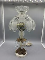Vintage Bohemian Glass Table Lamp Brass Accents CATCO Marble Base 16.5""