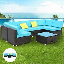 7pcs Rattan Wicker Sofa Set Outdoor Patio Garden Cushioned Sectional Furniture