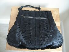 VINTAGE LARGE FUR AND SILK MUFF/ CLUTCH BAG WITH COIN PURSE