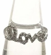 Sterling Silver 925 CZ Pave Love Script Word Phrase Petite Cocktail Band Ring
