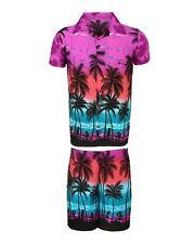 Mens Hawaiian Shirt Stag Beach Hawaii Aloha Party Summer Holiday Fancy S -xxl D8 Purple Palm Set M
