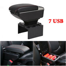 7 USB Rechargeable Style Car Central Container Armrest Box Storage w/Light Grade