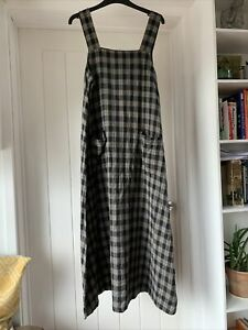 Vintage Monsoon Pinafore Long Dress Checked Pockets 12 90's  Grunge Minimal
