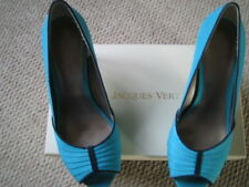 Beautiful Pair of Jacques Vert Turqouise Blue Silk Shoes Size 38