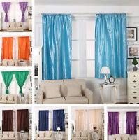 """NEW Pure Fabric HALF BLACKOUT Thermal Insulated Curtains 57""""*70"""" Rod Pocket"""