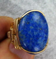 DENIM LAPIS LAZULI RING IN 14 KT ROLLED GOLD SETTING SIZE 5 TO 15 WIRE WRAPPED
