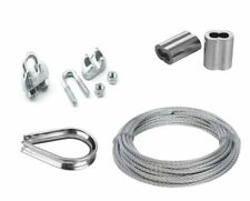 STEEL GALVANISED WIRE ROPE 10M X 8MM WITH 8 CRIMPS, 8 CLAMPS & 8 THIMBLES NEW