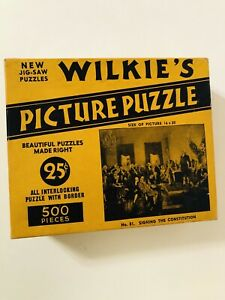 Vintage 1930's Wilkie's Picture Puzzle No.81 Signing Constitution 500 Pieces