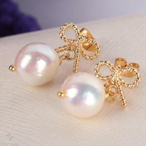 10-12 MM Natural White baroque pearl Earring 18k Ear Drop Fashion Women Hook