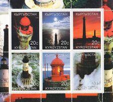FARI del mondo paesaggio costiero Kirghizistan 2000 Gomma integra, non linguellato FRANCOBOLLO SHEETLET