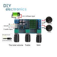 DC12-24V Dual Channel Digital  TPA3116D2 80Wx2 Treble Bass Amplifier US