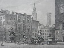 AQUATINTE Originale Place Duc Florence Daguerreotype Lerebours Salathe XIXeme