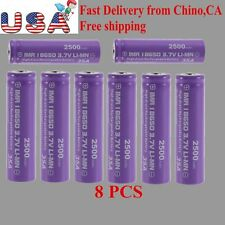 8PCS High Drain Rechargeable Battery 18650 35A 3.7v LI-MN 2500mAh Button Top AP