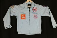 SIR JAC JACKET Lg Sleeve Zip Up blue/fishing tourney patches VINTAGE Rockabilly