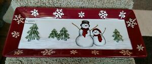 """ST NICHOLAS SQUARE """"YULETIDE"""" HAND PAINTED COOKIE TREAT DISH TRAY BRAND NEW"""