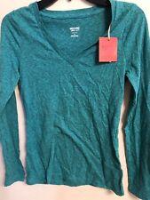 Mossimo, Girl's XS Zanzibar TurquoiseLong Sleeve V-Neck T-Shirt NWT