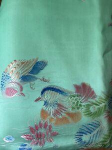 Vintage Oriental Bird Floral Print Rectangular Satin Tablecloth Large 76x52