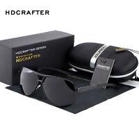Retro HD Polarized Sunglasses Men's Pilot Metal Outdoor Driving Eyewear Glasses