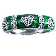 DESIGNER REPLICA_PAVE' CZ HEART_GREEN ENAMEL RING_SZ-10 __925 STERLING SILVER_NF