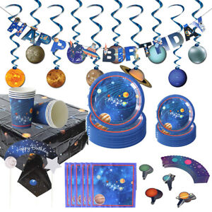 Space Theme Disposable Tableware Set Banner Kids Birthday Party Decor Supplies J