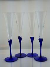 "Tall cobalt blue tulip budded stem trumpet wine glasses 11 1/4"""