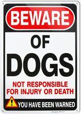 Beware of Dog Sign Will Bite,No Trespassing Warning Metal Sign 10 x 14 inch