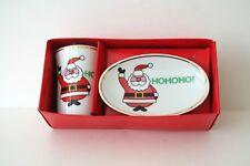 Porcelain Santa Soap Dish and Tumbler Set HOHOHO!--Brand New! Ames