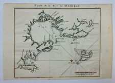 MANILLA PHILIPPINES 1750 GEORGE ANSON ANTIQUE SEA CHART IN COLORS 18TH CENTURY
