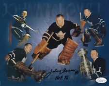 JOHNNY BOWER HAND SIGNED 8x10 COLOR PHOTO   BEST POSE   MAPLE LEAFS GOALIE   JSA