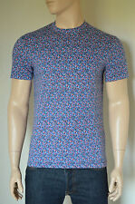 NEW Abercrombie & Fitch Classic Floral Print Crew Neck Tee T-Shirt Blue & Red M