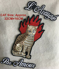 Set Of 3 Large FIRE CAT Embroidered Iron On Patch Fashion Decoration DIY Rocker