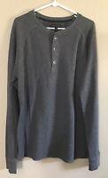 Banana Republic Mens 1/4 Button Henley Knit Shirt M Long Sleeves Gray Stretchy