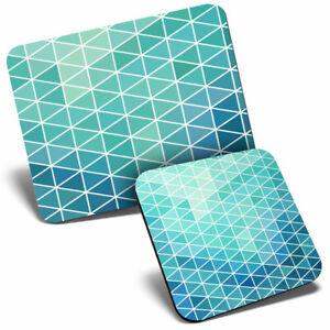 Mouse Mat & Coaster Set - Blue Geometric Pattern Art  #2247