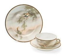 More details for antique japanese kutani eggshell porcelain hand painted birds tea cup trio