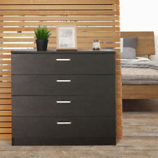 Black Chest of Drawers 4 Drawers Bedside Table Cabinet Cupboard Storage