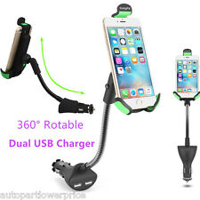 360° Rotable Car Holder Mount With USB Charger For iPhone Samsung HTC Smartphone