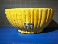 "Vintage Haegar 4020B Oval Ribbed Planter Yellow Speckled With Brown 3"" tall 5x8"""
