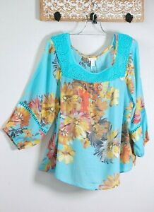 NWT SPENSE Women's XLarge  Turquoise Floral Boho Casual Peasant Shirt Blouse Top