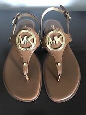 New Michael Kors Aubrey Charm Tan Luggage Thong Sandal - Size 8.5