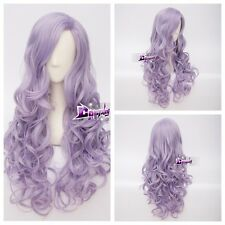 Light Purple 80cm Curly Fashion Party Lolita Harajuku Anime +Wig Cap Cosplay Wig