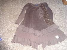 NAARTJIE KIDS XL 7 YRS BROWN FLORAL VELOUR RUFFLED DRESS