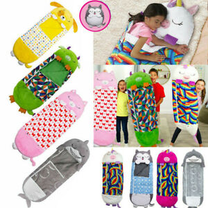 Large Happy Nappers Sleeping Bag Kids Girls Boys Camping Pillow Soft Warm Gift