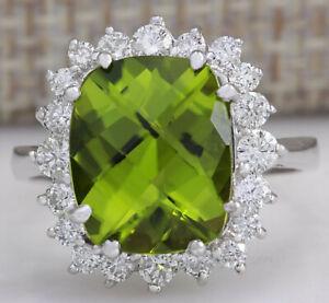 5.93 Carat Natural Peridot 14K White Gold Diamond Ring