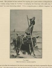 ANTIQUE FISHERWOMAN ROW BOAT BEACH SHORE STRONG GIRL A FARE SMALL ART PRINT